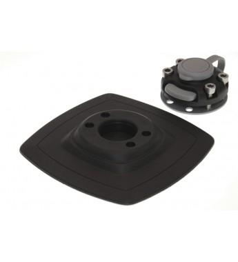 Suport fixare PVC 140x140mm cu bandă adeziva VHB 3M pentru instalare rapidă pe suprafețe plane netede și dure FMs225